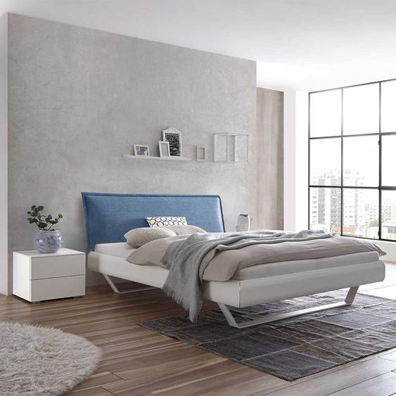 Futonbett in Weiß Polsterkopfteil in Blau (3-teilig)