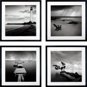 G&C Kunstdruck Levy: Beach Bilderset, (Set), 4 Motive à 50/50 cm, gerahmt B/H: 50 cm x schwarz Kunstdrucke Bilder Bilderrahmen Wohnaccessoires