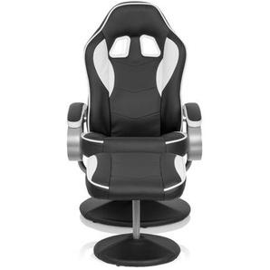 GAMER PRO WH 110 - Loungesessel Schwarz / Weiß
