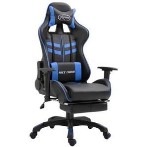 Gaming-Stuhl mit Fußstütze Blau Kunstleder - VIDAXL