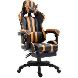 Gaming-Stuhl mit Fußstütze Orange PU - VIDAXL