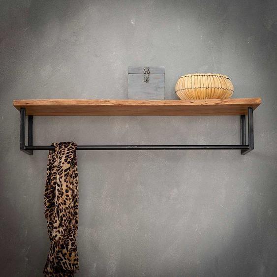 Garderobe aus Akazie Massivholz und anthrazit lackiertem Metall Industry Style
