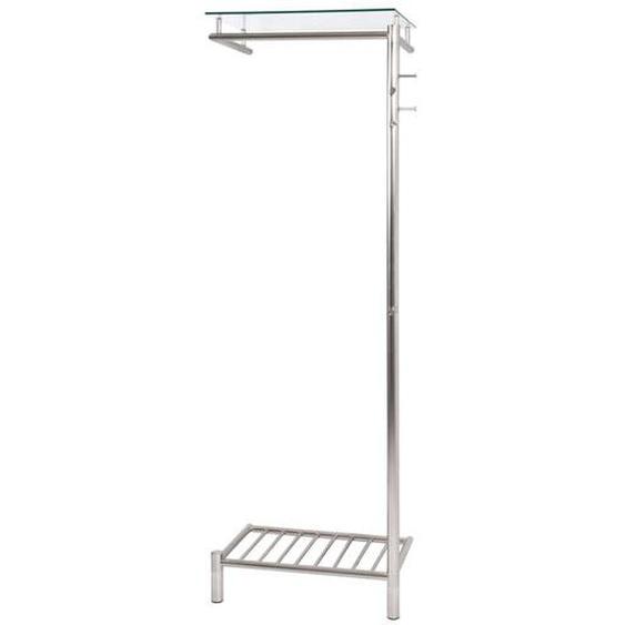 Garderobe aus Stahl Glasablage