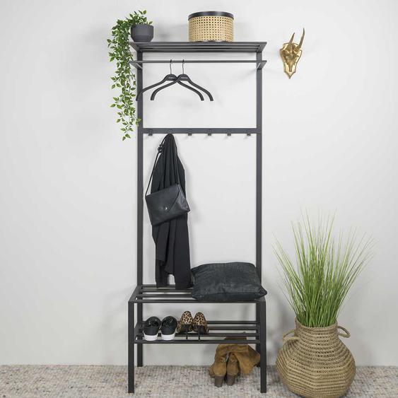 Garderobe aus Stahl Schuhablage