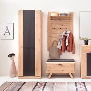 Garderobe Carvin 30 Balkeneiche Cosmos grey 5-teilig Garderobenset - VARIANTE: Set-Inhalt: ohne Sitzkissen