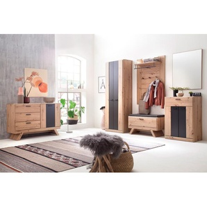 Garderobe Carvin 33 Balkeneiche Cosmos grey 6-teilig Garderobenset - VARIANTE: Set-Inhalt: ohne Sitzkissen