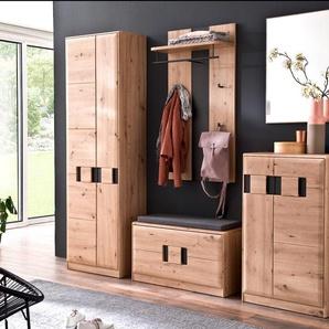Garderobe Göhren 10 Balkeneiche 5-teilig Garderobenmöbel Garderobenset - VARIANTE: Set-Inhalt: mit Sitzkissen