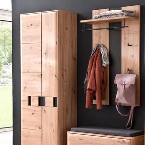 Garderobe Göhren 11 Balkeneiche 3-teilig Garderobenmöbel Garderobenset - VARIANTE: Set-Inhalt: mit Sitzkissen