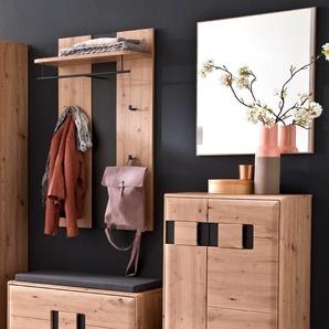 Garderobe Göhren 12 Balkeneiche 4-teilig Garderobenmöbel Garderobenset - VARIANTE: Set-Inhalt: mit Sitzkissen