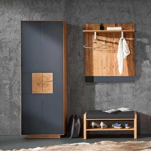 Garderobe in Anthrazit Wildeiche Massivholz (3-teilig)