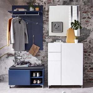 Garderobe in Blau und Wei� 160 cm breit (4-teilig)