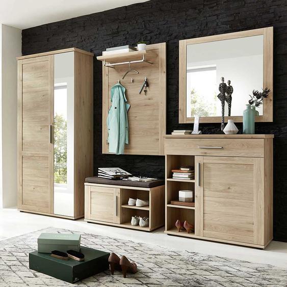Garderobe in Eichefarben Spiegel und Schuhschrank (5-teilig)