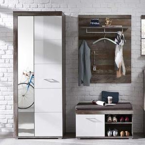 Garderobe in Treibholz Optik Wei� Hochglanz (3-teilig)
