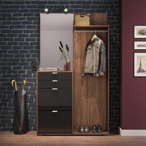 Garderobe in Walnussfarben und Schwarz 120 cm breit