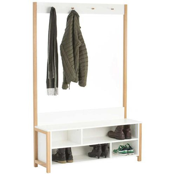 Garderobe in Weiß Eiche 120 cm breit