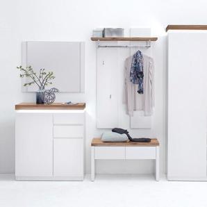 Garderobe in weiß matt lackiert mit Oberböden in Asteiche massiv geölt, inkl. LED Beleuchtung, Gesamtmaß: B/H/T ca. 285/198/38 cm