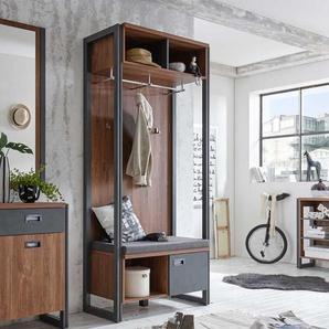 Garderobe mit Sitzbank Eiche dunkel Schiefer Grau