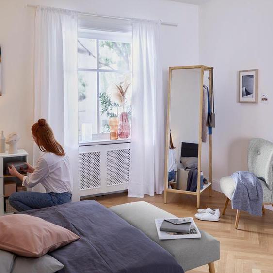 Garderobe mit Spiegel - weiß - Massivholz -