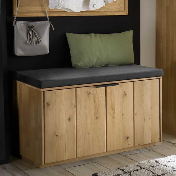 Garderobe Sitzbank in Wildeiche Bianco massiv 80 cm breit