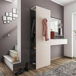 Garderobe Terra 3 tlg Paneel Softclose Konsole Spiegel 6 Paar Creme-Grafit