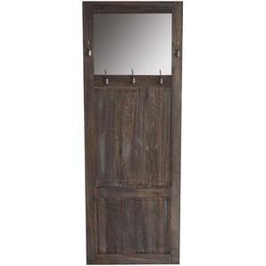 Garderobe Wandgarderobe mit Spiegel Wandhaken 180x65x7cm, Shabby-Look, Vintage ~ braun