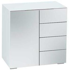 Garderoben Kommode in Weiß Spiegelglas 80 cm hoch