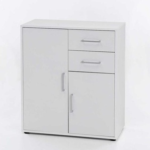 Garderoben Kommode in Weiß Türen und Schubladen