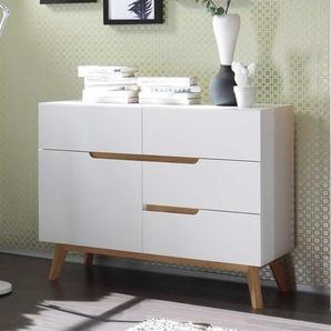 Garderoben Kommode in Weiß und Asteiche modern