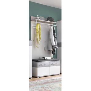 Garderoben Set DAKOTA-01 weiß, Beton-Optik, inkl. Polster, B x H x T ca. 96 x 200 x 40cm