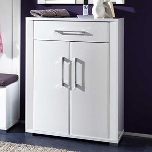 Garderoben Schuhschrank in Hochglanz Weiß 100 cm breit