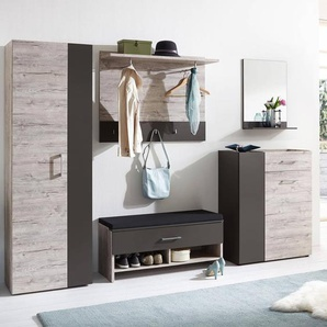 Garderoben Set NORWICH-10 Sandeiche Nb. / Lava, B x H x T ca. 280 x 186 x 38,1 cm