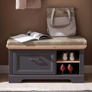 Garderoben Sitzbank in Dunkelgrau und Eichefarben einer Schublade