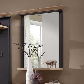 Garderoben Spiegel in Dunkelgrau und Eichefarben Landhausstil
