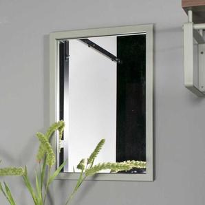 Garderoben Spiegel in Graugrün rechteckigem Metallrahmen