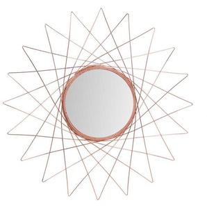 Garderoben Spiegel mit Metallrahmen in Kupferfarben rund