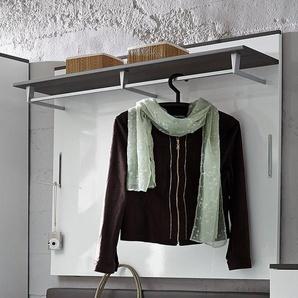 Garderoben-Wandpaneel in Hochglanz weiß grau mit Kleiderstange RHEINE-36 B/H/T 100x99x30cm