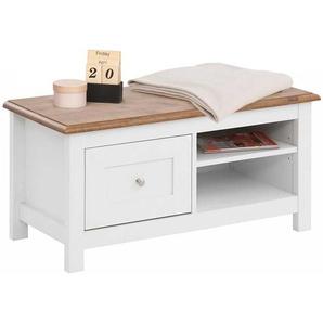 Garderobenbank in Weiß und Eiche Optik 90 cm breit