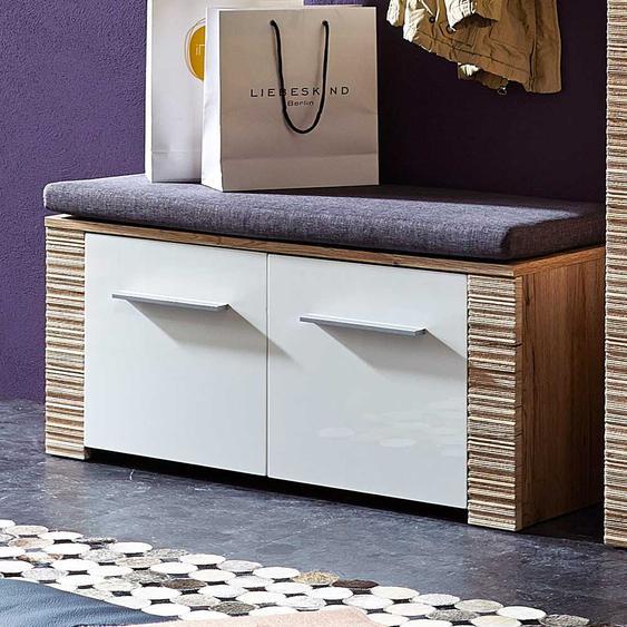 Garderobenbank mit Türen Weiß Hochglanz Eiche San Remo