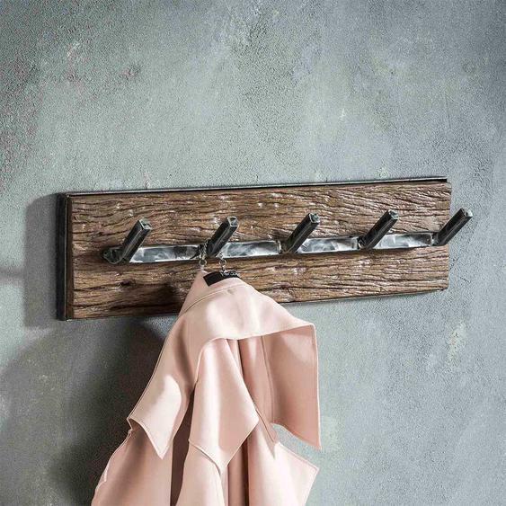 Garderobenhakenleiste aus Hartholz und Metall 60 cm breit