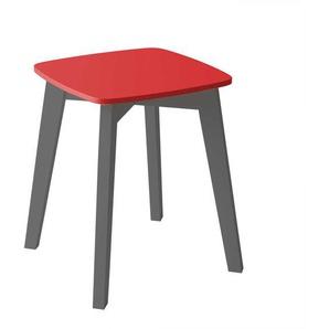 Garderobenhocker in Anthrazit und Rot Skandi Design