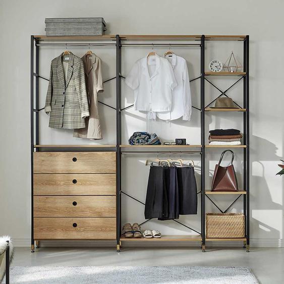 Garderobenkombination in Schwarz und Akaziefarben Loft Design