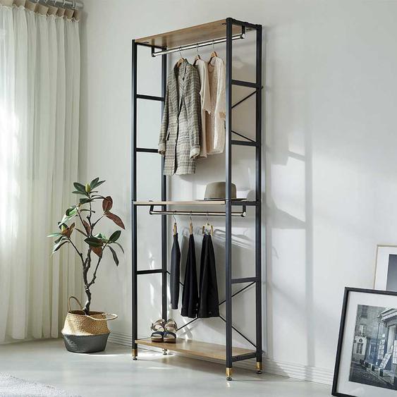 Garderobenkombination in Schwarz und Akazienfarben 85 cm breit