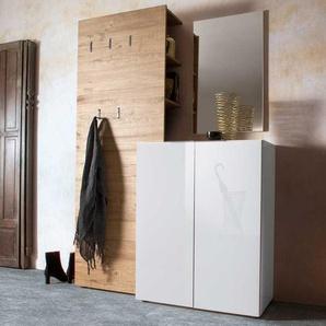 Garderobenkombination in Weiß Hochglanz Eiche modern (3-teilig)