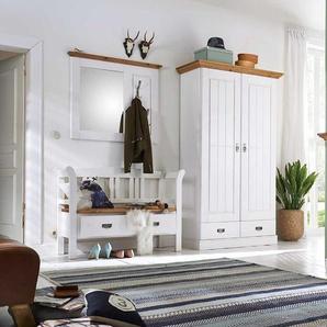 Garderobenkombination in Weiß Kiefer massiv Landhaus (3-teilig)