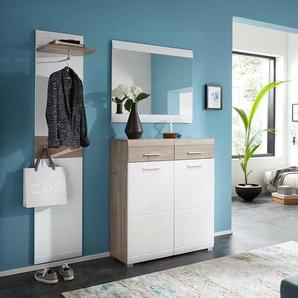 Garderobenkombination in Weiß und Eiche modern (dreiteilig)
