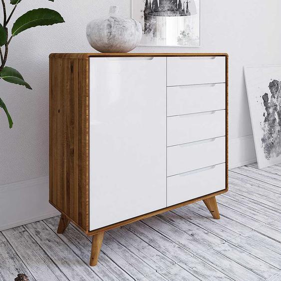 Garderobenkommode in Weiß und Wildeiche 90 cm breit
