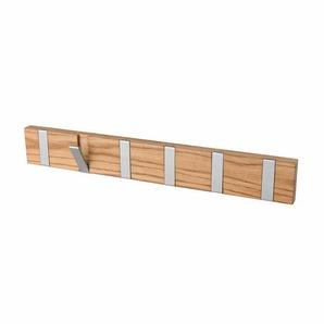 Garderobenleiste aus Eiche Massivholz mit Klapphaken