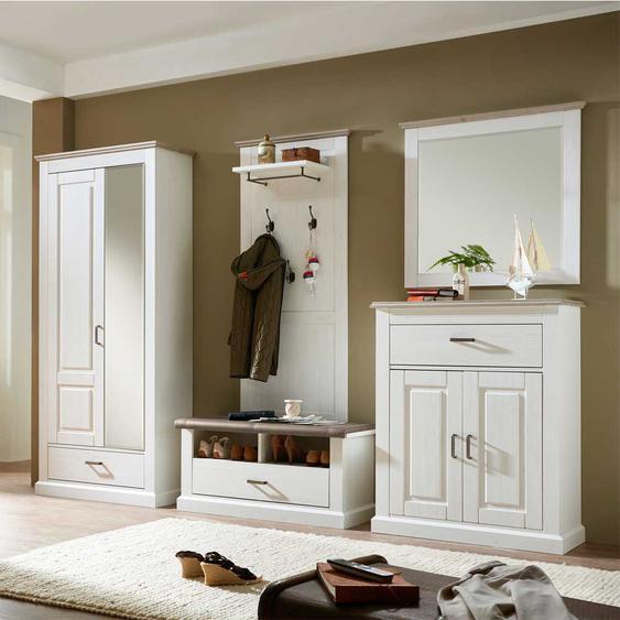 Garderobenmöbel Set in Weiß Taupe skandinavischer Landhausstil (5-teilig)