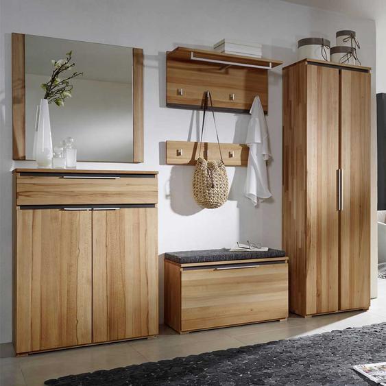 Garderobenmöbel aus Kernbuche Massivholz komplett (6-teilig)