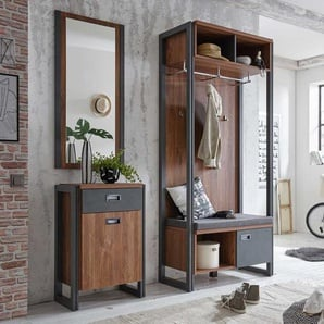 Garderobenmöbel im Loft Design Eiche dunkel Schiefer Grau (3-teilig)
